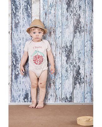 Nadadelazos Short Sleeved Bodysuit, Lychee - 100% organic cotton jersey Short Sleeves Bodies