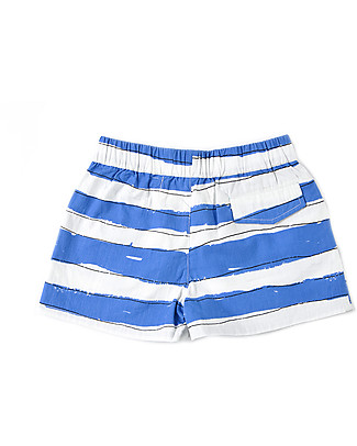 Nadadelazos Short White/Navy Stripes - 100% organic cotton popeline Shorts