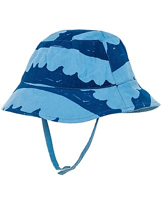 Nadadelazos Sun Hat, Sea Waves in Blue - 100% organic cotton twill Sunhats