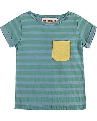 Nadadelazos T-shirt with Folded Cuffs, Blue and Green Stripes - 100% organic cotton T-Shirts And Vests