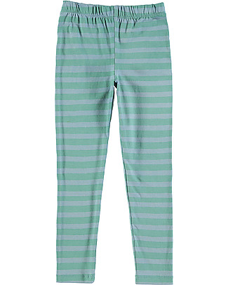 Nadadelazos Unisex Leggings, Blue&Green Stripes - Cotton Leggings