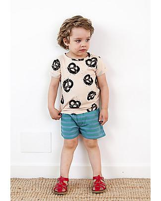 Nadadelazos Unisex Shorts, Blue&Green Stripes - 100% organic cotton Shorts