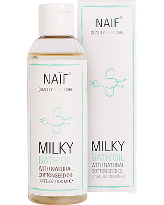 NAIF Baby Care Natural Milky Bath Oil With Cottonseed Olil and Chamomille - No Nasties (No SLES/SLS, Parabens, PEG, Mineral Oils) null