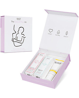 NAIF Baby Care The Baby & Mum Kit: Milky Bath Oil, Diaper Cream and Hand Cream Body Lotions And Oils