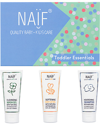 NAIF Baby Care Toddler Essentials Gift Set - Softening Body Lotion, Nourishing Shampoo and Cleansing Wash Gel Baby Bath Wash and shampoo