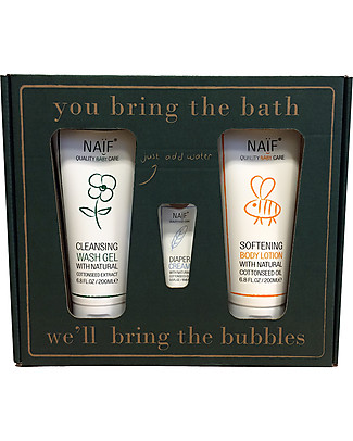 NAIF Baby Care You bring the water, we'll bring the bubbles! Gift Set (Wash Gel 200ML, Softening Body Lotion 200ML + Diaper Cream mini) - No Nasties (No SLES/SLS, Parabens, PEG, Mineral Oils) null