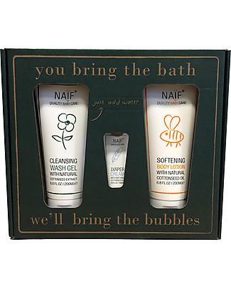 NAIF Baby Care You bring the water, we'll bring the bubbles! Gift Set (Wash Gel 200ML, Softening Body Lotion 200ML + Diaper Cream mini) - No Nasties (No SLES/SLS, Parabens, PEG, Mineral Oils) Shampoos And Baby Bath Wash