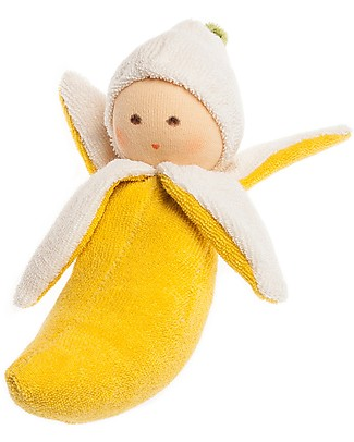 Nanchen Natur Banana Soft Doll Rattle - Perfect for Babies Dolls