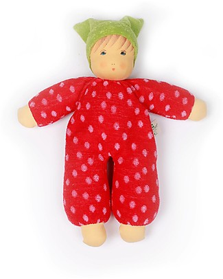 Nanchen Natur Doll with Red Clothes with Dots, 30 cm - Safe and Funny! Dolls