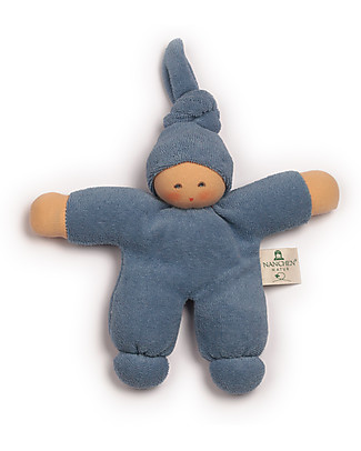 Nanchen Natur Pimpel Blue Doll, 17 cm - Organic Cotton and Virgin Wool Dolls