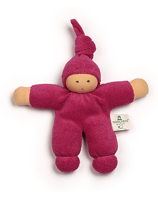 Nanchen Natur Pimpel Fuchsia Doll, 17 cm - Organic Cotton and Virgin Wool Dolls