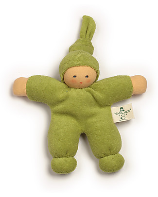 Nanchen Natur Pimpel Green Doll, 17 cm - Organic Cotton and Virgin Wool Dolls