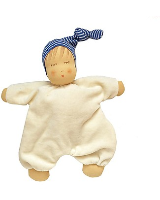 Nanchen Natur Sleeping Doll with Blue Nightcap, 27 cm - Sweet and Eco-friendly Dolls