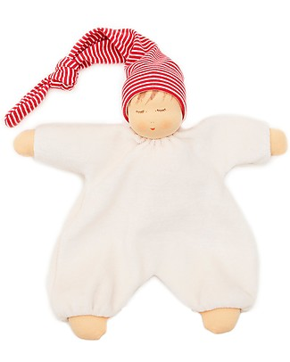 Nanchen Natur Sleeping Doll with Red Nightcap, 27 cm - Sweet and Eco-friendly Dolls