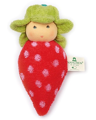 Nanchen Natur Strawberry Soft Doll Rattle - Perfect for Babies Dolls