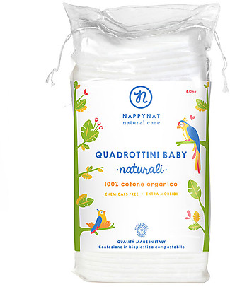 Nappynat Baby Pads, 60 pieces – 100% organic cotton Baby Wipes