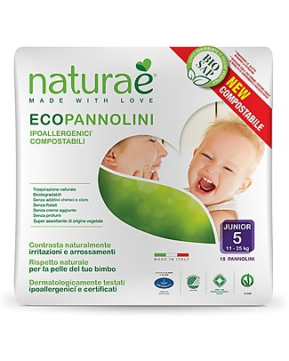 Naturaè Compostable Ecodiapers, size 5 Junior 11-25 Kg - Pack of 18 Biodegradable Nappies