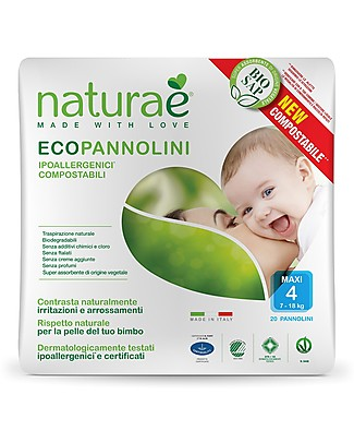Naturaè Compostable Ecodiapers, size Maxi 8-18 Kg - Pack of 20 Biodegradable Nappies