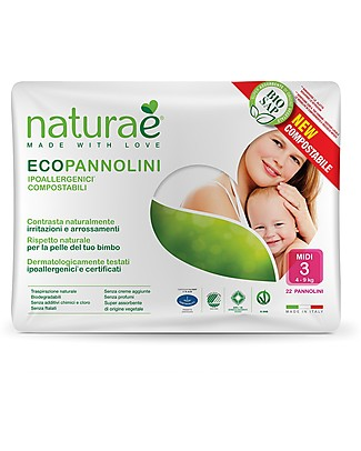 Naturaè Compostable Ecodiapers, size Midi 4-9 Kg - Pack of 22 Biodegradable Nappies