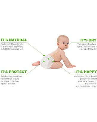 Naturaè Compostable Ecodiapers, size Mini 3-6 Kg - Pack of 24 Biodegradable Nappies