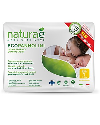 Naturaè Compostable Ecodiapers, size Newborn 2-5 Kg - Pack of 26 Biodegradable Nappies