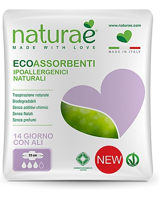 Naturaè Day Sanitary Napkins with Wings, Biodegradable - Pack of 14 Sanitary Napkins and Pantyliners