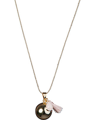 Nibbling Bola with Chain Pregnancy Necklace in Pink Pregnancy Chimes
