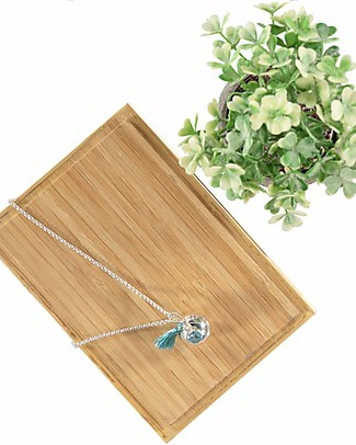 Nibbling Bola with Silver Chain Pregnancy Necklace in Blue Topaz Pregnancy Chimes