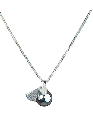 Nibbling Bola with Silver Chain Pregnancy Necklace in Grey Pregnancy Chimes