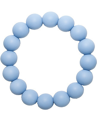 Nibbling Bracelets/Teething Ring - Kew Soft Blue - 100% Food Grade Silicone - Fast and Easy to Clean! Teethers