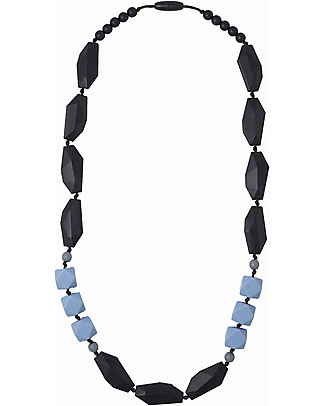Nibbling Brighton Teething Necklace - Black/Blue - 100% Food Grade Silicone and Breakaway Clasp! Teething Necklaces