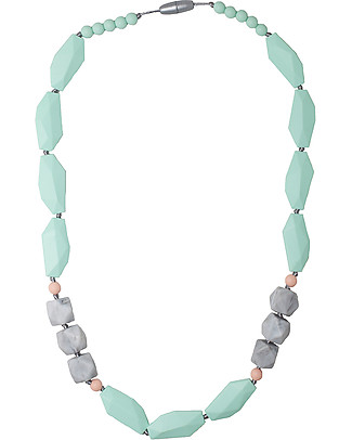 Nibbling Brighton Teething Necklace - Mint/Marble - 100% Food Grade Silicone and Breakaway Clasp! Teething Necklaces