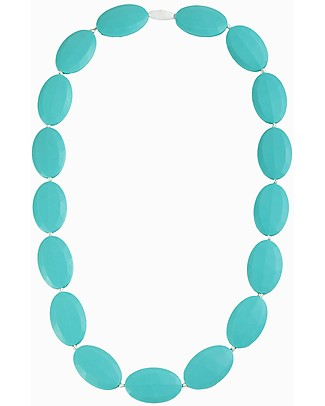 Nibbling Chelsea Teething Necklace - Turquoise - 100% Food Grade Silicone and Breakaway Clasp! Teething Necklaces