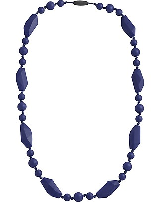 Nibbling Greenwich Teething Necklace - Navy Blue - 100% Food Grade Silicone and Breakaway Clasp! Teething Necklaces