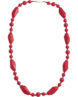 Nibbling Greenwich Teething Necklace - Red - 100% Food Grade Silicone and Breakaway Clasp! Teething Necklaces