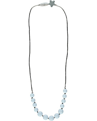 Nibbling Harrow Teething Necklace - Baby Blue - 100% Food Grade Silicone and Breakaway Clasp! Teething Necklaces