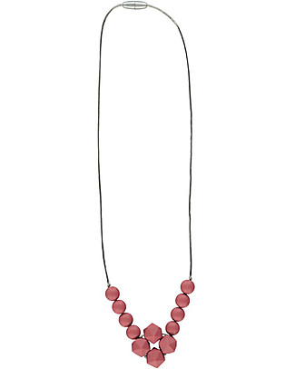 Nibbling Havana Teething Necklace - Pomegranate - 100% Food Grade Silicone and Breakaway Clasp! Teething Necklaces