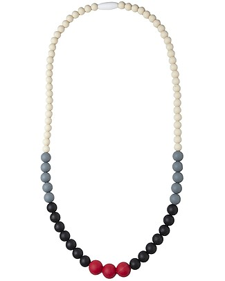 Nibbling Kew Teething Necklace - Colour Block - 100% Food Grade Silicone and Breakaway Clasp! Teething Necklaces