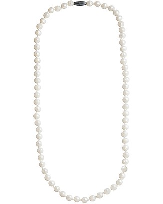 Nibbling Mayfair Teething Necklace - Pearl White - 100% Food Grade Silicone and Breakaway Clasp! Teething Necklaces
