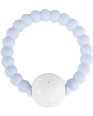 Nibbling Rattle Ring - Soft Blue/White - 100% Food Grade Silicone - Fast and Easy to Clean! Teethers