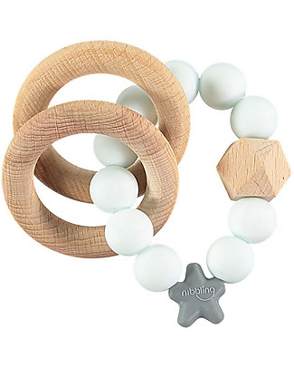 Nibbling  Rattle Teething Ring 2-in-1 - Aqua  Marble - Natural Wood and Food Grade Silicone! Teethers