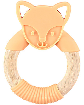 Nibbling Rattle Teething Ring 2-in-1 - Flex the Fox - Orange - Natural Wood and Food Grade Silicone! Teethers