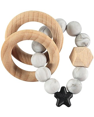 Nibbling Rattle Teething Ring 2-in-1 - Marble - Natural Wood and Food Grade Silicone! Teethers