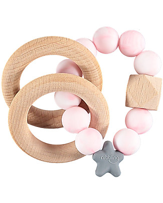 Nibbling Rattle Teething Ring 2-in-1 - Pink Marble - Natural Wood and Food Grade Silicone! Teethers