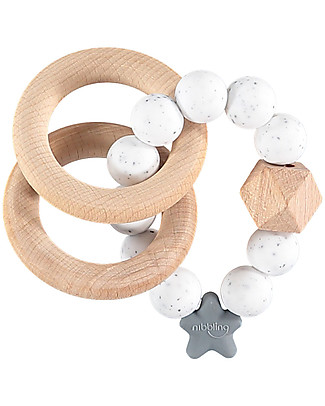 Nibbling Rattle Teething Ring 2-in-1 - Speckled - Natural Wood and Food Grade Silicone! Teethers