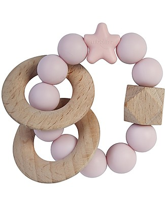 Nibbling Rattle Teething Ring 2-in-1 - Stellar Baby Pink - Natural Wood and Food Grade Silicone! Teethers