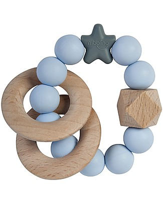 Nibbling Rattle Teething Ring 2-in-1 - Stellar Blue - Natural Wood and Food Grade Silicone! Teethers