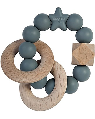 Nibbling Rattle Teething Ring 2-in-1 - Stellar Grey - Natural Wood and Food Grade Silicone! Teethers