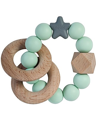 Nibbling Rattle Teething Ring 2-in-1 - Stellar Mint - Natural Wood and Food Grade Silicone! Teethers