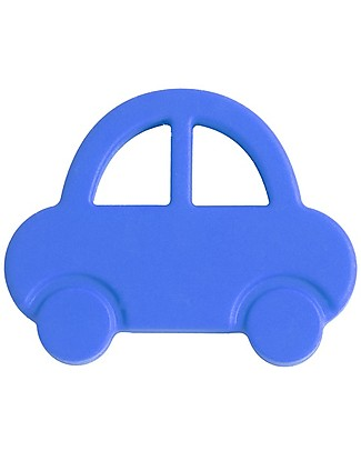 Nibbling Teether & Teething Necklace 2-in-1 - Blue Car - 100% Food Grade Silicone Teethers